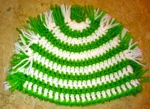 crocheted in white and bright green