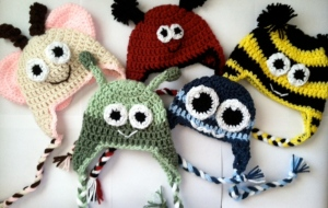 """Going Buggy"" collection of crocheted hats"