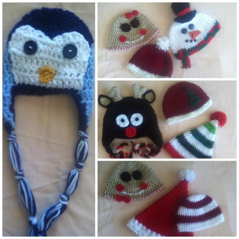 penguin, reindeer, snowman, santa, elf, gingerbread man, gingerbread woman crochet hats
