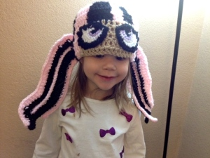 Being modeled by my 3-yr old daughter. This hat should fit up to 10 years old!