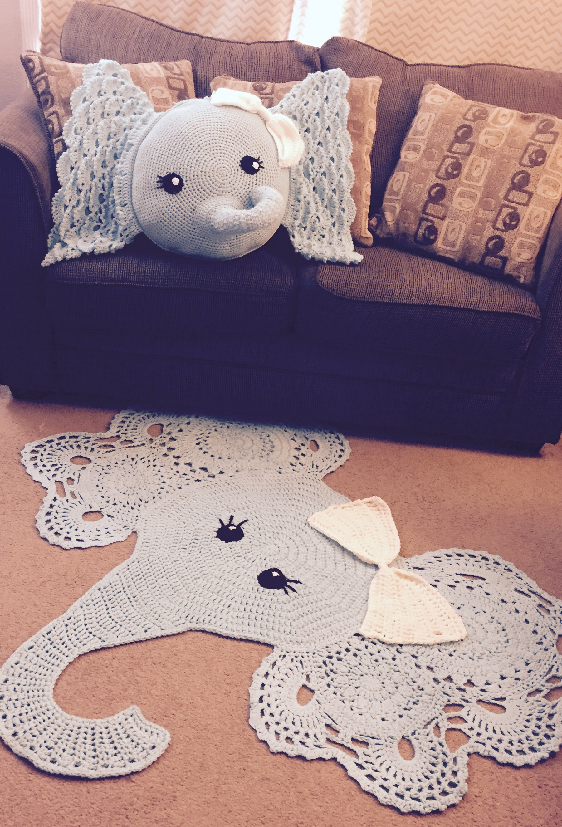 Crochet Elephant Pillow and Rug Pattern Review – Family Bugs