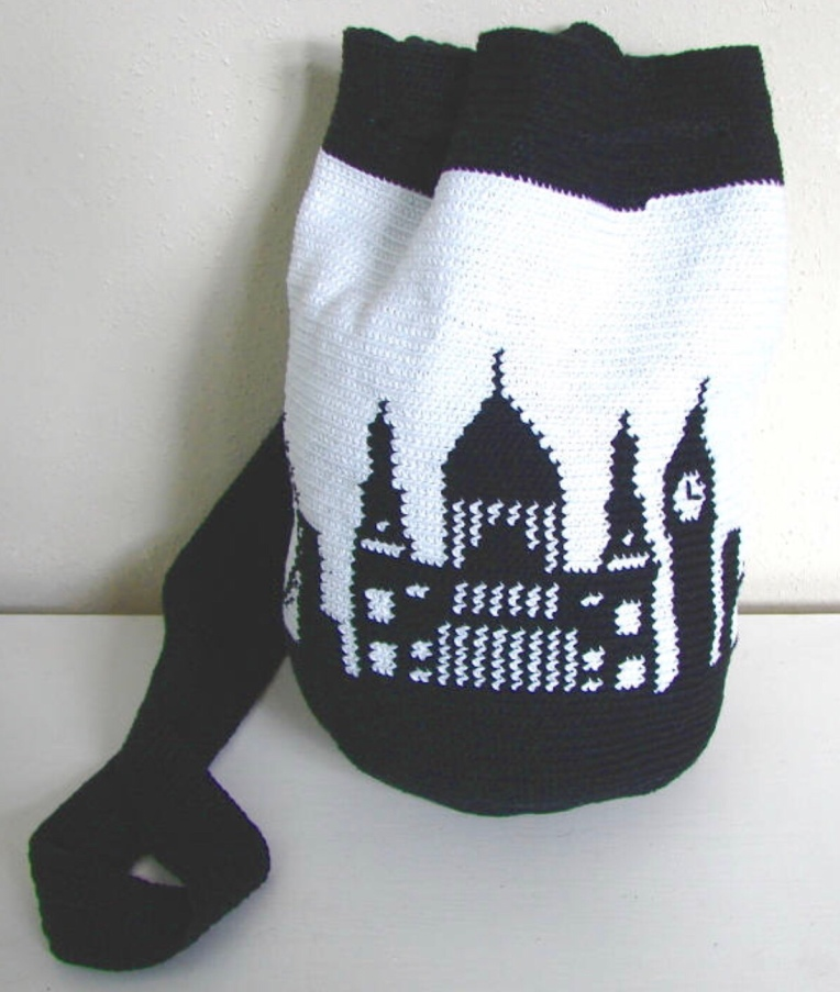 Tapestry crochet London city bag